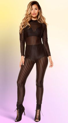 Look sexy from head to toe in this sheer black jumpsuit featuring a high neck, long sleeves, an open back panel, and an allover striped design. (Bra and panty not included.) Striped Mesh Jumpsuit, Sheer Black Jumpsuit, Striped Jumpsuit