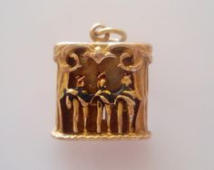 9ct Gold Dancing Can Can Girls Enamel Moving Charm by TrueVintageCharms on Etsy