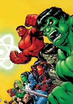 HULK, Red Hulk, Skaar, Red She-Hulk, A-Bomb, She-Hulk, Doc Samson & She-Hulk by Ed McGuinness