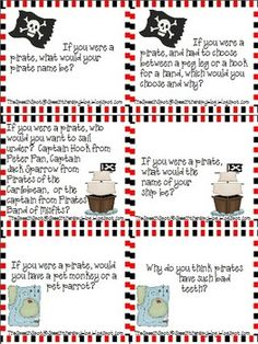 24 Questions or Conversation Topics focused around Pirates for use in a theme week or today on National Speak Like a Pirate Day! Great for working with voice, fluency, or artic kids at the conversation level. Pirate Talk, Teach Like A Pirate, Pirate Ships, Preschool Pirate Theme, Pirate Activities, Pirate Birthday, Pirate Party, School Themes, Classroom Themes