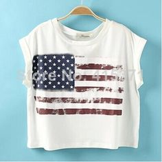 2014 New Hot Sale Stylish European and American Street Style American Flag Causal Style T Shirt For Women In Summer
