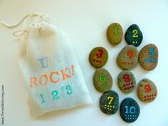 juego de numeros hecho a mano con piedras pintadas  diy handmade numbers game with painted stones
