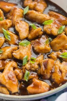 Easy Orange Chicken Recipe is sure to be a hit with the whole family! It's sweet and tangy, and coated in a sticky homemade orange sauce that is perfect over rice! Forget the takeout -- this Orange Chicken is ready in just 30 minutes with one pan! Easy Orange Chicken, Chinese Orange Chicken, Orange Chicken Crock Pot, Chinese Food, Orange Marmalade Chicken, Chinese Meals, Chinese Desserts, Crockpot Recipes, Cooking Recipes