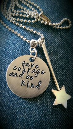 Have courage and be kind - Cinderella Necklace - Initial charm