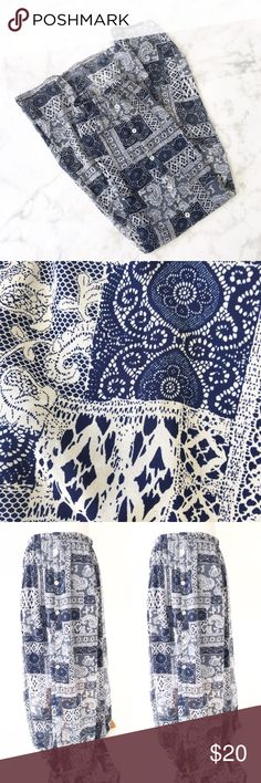 ♦️NAVY N WHITE PAISLEY PRINT MAXI SKIRT NWOT. 100% Polyester.  Elastic waistband. Front buttons. Sheer maxi skirt with underneath slip.  S - Waist 26in/Length 40in/Slip Length 18 in L - Waist 30in/Length 41in/Slip Length 18 in Skirts Maxi