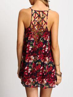 Multicolor Spaghetti Strap Hollow Floral Dress