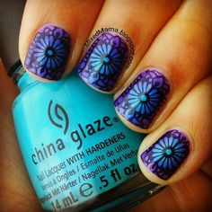 Radial Gradient using China Glaze's Towel Boy Toy and Sinful Colors Let's Talk…