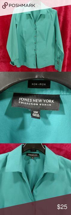 15f59782ff20f0 Jones New York Blue-Green split collar blouse NWOT blue green JNY Collection  non-iron fitted blouse. Jones New York Tops Blouses