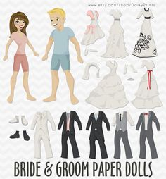Wedding Paper Dolls PDF -  printable paper dolls - Bride and Groom, Marriage