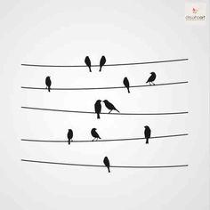 Kalligraphie Birds 2 - Dewiha Art - templates, wall stickers, birds Top 10 Ways To Accessorize Your Doodle Drawings, Doodle Art, Vogel Silhouette, Art Template, Wire Art, Pyrography, Paint Designs, Pencil Art, Flower Doodles