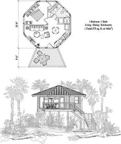 Prefab Homes House Plan: 1 Bedrooms, 1 Baths, 475 sq., Piling Collection by Topsider Homes Round House Plans, Tree House Plans, Small House Plans, House Floor Plans, Hut House, Dome House, Bungalows, Ideas De Cabina, Arquitetura
