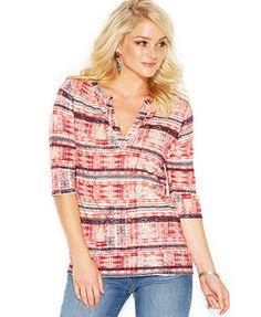 Lucky Brand Three-Quarter-Sleeve Tribal-Stripe Top