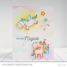 Die-namics BB Magical Unicorns This Die-namics coordinates with the Magical Unicorns stamp set for perfectly sized die cuts every time. It is open inside to all Kids Cards, Baby Cards, Card Making Inspiration, Making Ideas, Tarjetas Diy, Rainbow Card, Birthday Cards For Boys, Invitation, Card Tricks
