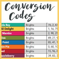 Complete list of Stampin' Up! color conversion codes (Hex, RGB & CMYK) since 2008