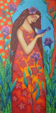 lady and bluebird