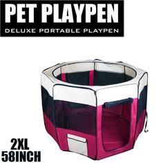 New 58' 2X-Large Dog Pet Cat Playpen Kennel Exercise Pen Crate Fence - Red -- You can find more details here : Dog kennels