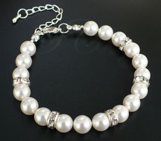 Bridal pearl bracelet  Swarovski pearl by SeraphineCreations, $26.00