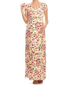 Another great find on #zulily! Chris & Carol Ivory & Pink Floral Maxi Maternity Dress #zulilyfinds