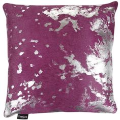 A by Amara Acid Burnt Cowhide Pillow - 45x45cm - Fuchsia/Silver (125 CAD) ❤ liked on Polyvore featuring pink