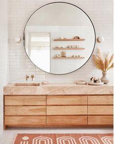 New Bathroom Lighting Design Color Palettes Ideas Bathroom Goals, Bathroom Colors, Neutral Bathroom, Bathroom Modern, Decoracion Low Cost, Bathroom Lighting Design, Pink Mirror, Wood Vanity, Amazing Bathrooms