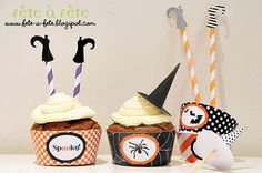 Black, white & orange Halloween party edible printables. Too cute!