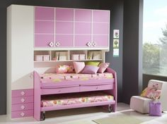 all in one wall unit! would be perfect for sleepovers, not so much for sharing they would never sleep if you put them that close together