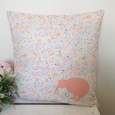 Cushion Cover Ditsy Floral Fabric Peach by natandalicreative