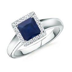 Square Sapphire Round Diamond Border Ring -