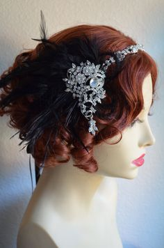 Black Feather Crystal Headpiece Headband Flapper by yanethandco,