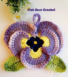 Pink Rose Crochet: Resultados da pesquisa Pega panelas flor
