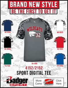 ad42876da50 New Digital Camo Baseball Jersey by Badger Sport. Style Number 4152. Badger  Sports,