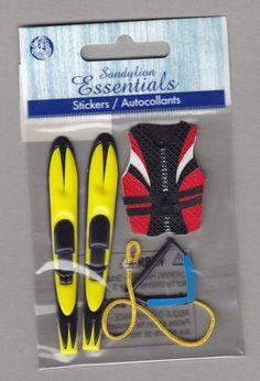 Sandylion+Essentials+Scrapbooking+Stickers+WATER+SKIING+life+jacket+rope+ski+sports+3D+-+ES04