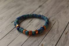 Armbänder - Sommer - Armband aus Keramikperlen blau bronze - ein Designerstück von buntezeiten bei DaWanda