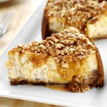 Caramel, Apple, Pecan Cheesecake - use GF shortbread cookie crumbs and skip the sugar for the crust and don't put the flour in the filling. If you really feel the need for flour, use GF flour, but it isn't needed.