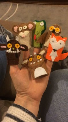 Gruffalo finger puppets felt toy can find Puppets and more on our website. Felt Puppets, Felt Finger Puppets, Puppet Toys, Hand Puppets, Sewing Crafts, Sewing Projects, Finger Puppet Patterns, Felt Fish, The Gruffalo