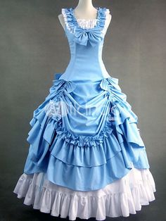 Sky Blue Rococo Classic Lolita Long Dress Ball Gown Full Length - Milanoo