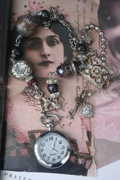 Pocket watch necklace Vintage pocket watch vintage watch Found Object Jewelry, Pocket Watch Necklace, Medieval Jewelry, Vintage Pocket Watch, Unusual Jewelry, Jewelry Design, Designer Jewelry, Metal Beads, Vintage Rhinestone