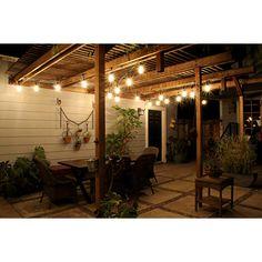 Backyard String Lights, Indoor String Lights, Backyard Lighting, Pergola Lighting, Outdoor Lighting, Outdoor Decor, Lights On Deck, Pergola With Lights, Outside Lighting Ideas