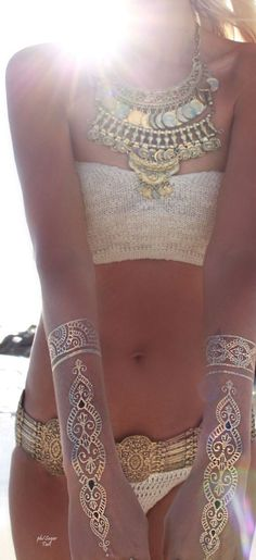Nr. 1 Premium Temporäre Tattoos || GOLD, SILBER, SCHWARZ || Metallic Schmuck Tattoos || #accessorize