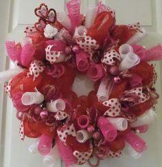 Valentine Wreath, Deco Mesh Valentine, Welcome my Valentine | PJCreativeWreaths - Housewares on ArtFire
