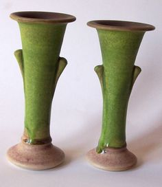 Candle Sticks or Bud Vases Green and Mauve 48 for the pair. $48.00, via Etsy. - Larry Watson