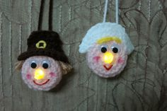 Lighted Pilgrim Couple Ornaments - Free Pattern