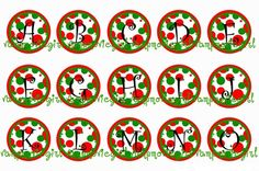 Christmas Red and Green Bubble Initials Alphabet 1 Inch Circle Image Collage for Bottle Caps...Buy 3 get 1 Free