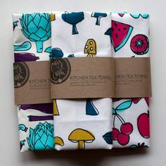Illustration Tea Towel Set of 3  by Yours is the Earth