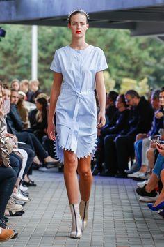 IMRECZEOVA SS18 striped shirt dress with zig-zag hem 60 Degrees, Striped Shirt Dress, Zig Zag, Runway, Casual, Shirts, Dresses, Fashion, Cat Walk