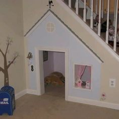 Under stairs play house/dog house Dog Houses, Play Houses, Space Under Stairs, My Dream Home, Kids Playing, Future House, Sweet Home, New Homes, Home And Garden