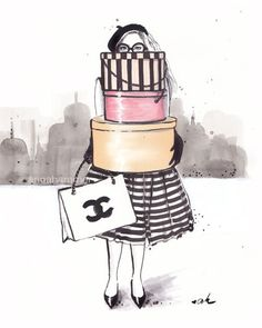 Illustration de mode, impression de Chanel, Chanel Illustration, mode impression, mode Wall Decor, vestiaire Art, « Drogué de faire du Shopping » par worksbyannahammer sur Etsy https://www.etsy.com/be-fr/listing/195558694/illustration-de-mode-impression-de