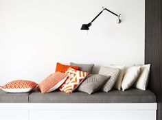gorgeous orange and grey at Country Road via Interiors Addict