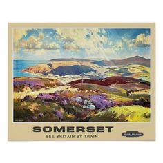 Exmoor view looking towards Porlock Bay and Minehead - 1950s British Railways poster.