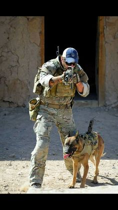 Soldier + his dog